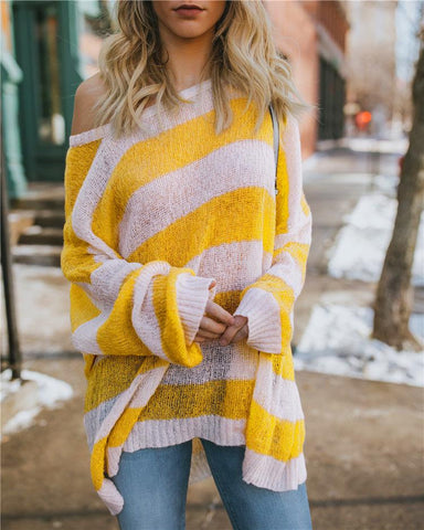 Image of Casual Baggy Striped   Knit Sweater Yellow l