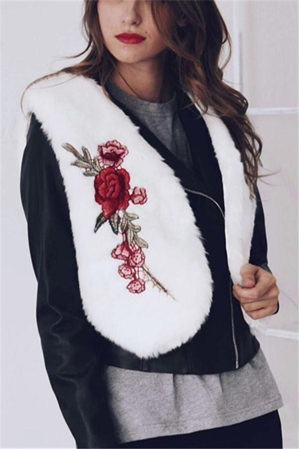 Fashionable Embroidery Imitation Fur Warm Vest Coat White s