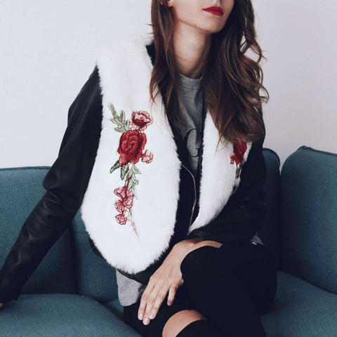 Image of Fashionable Embroidery Imitation Fur Warm Vest Coat White 2xl