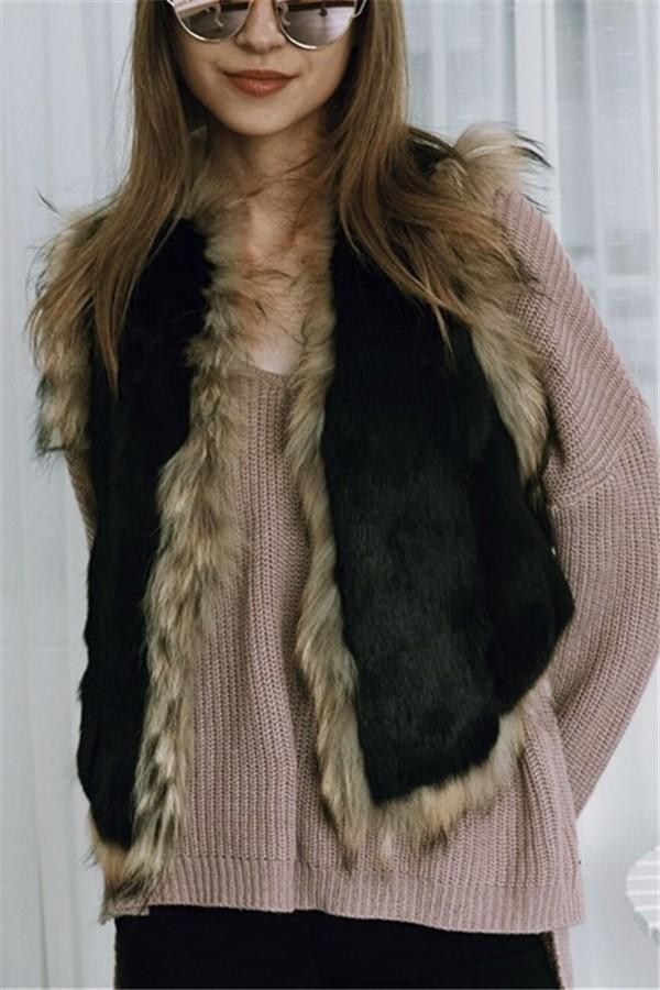 Fashionable Warm Imitation Fur Warm Vest Coat Black s