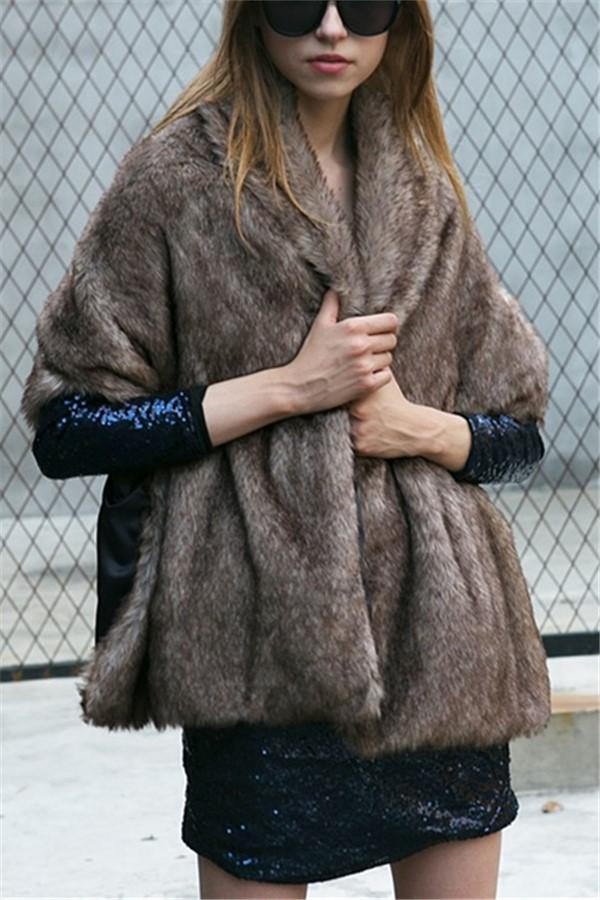 Fashion Warm Imitation   Fur Cape Shawl Brown one size