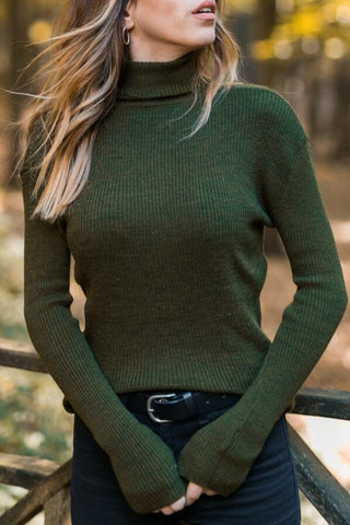 Image of Turtle Neck Long Sleeve Knitting Sweaters Gray l