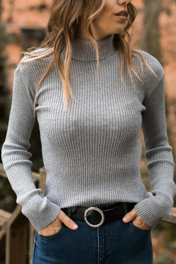 Turtle Neck Long Sleeve Knitting Sweaters Gray s