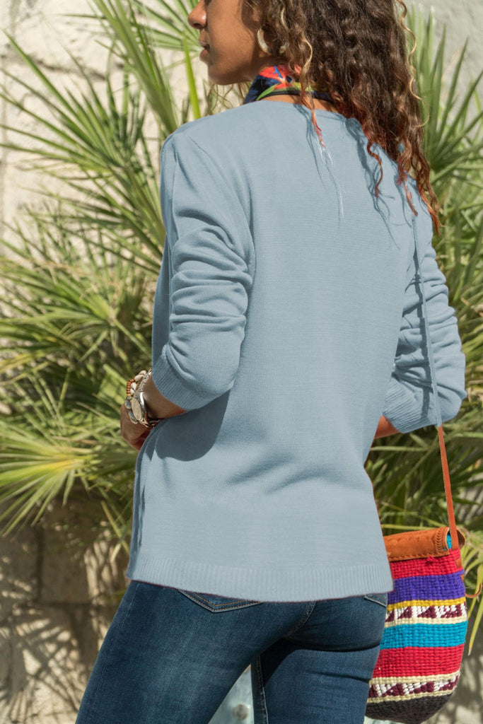 Casual Pure Color  Button Knitted Cardigan Jacket Light Blue l