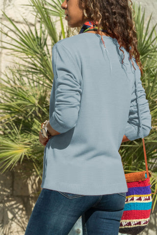 Image of Casual Pure Color  Button Knitted Cardigan Jacket Light Blue l