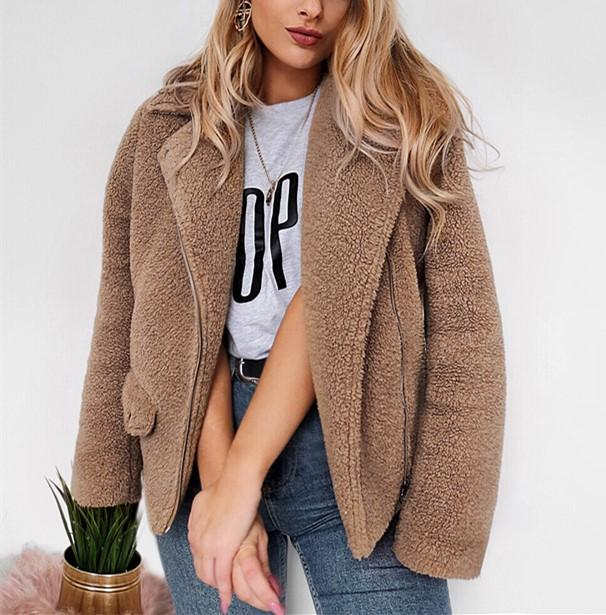 Autumn And Winter   Casual Plush Warm Coats Camel m
