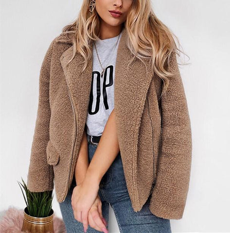 Image of Autumn And Winter   Casual Plush Warm Coats Camel m