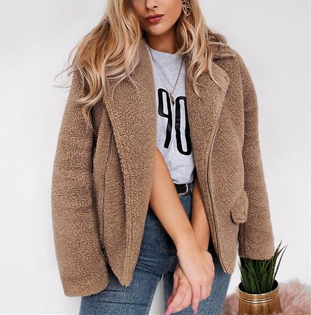 Autumn And Winter   Casual Plush Warm Coats Camel l