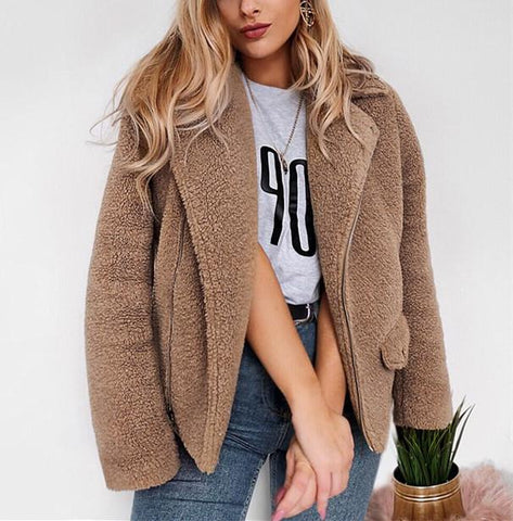 Image of Autumn And Winter   Casual Plush Warm Coats Camel l