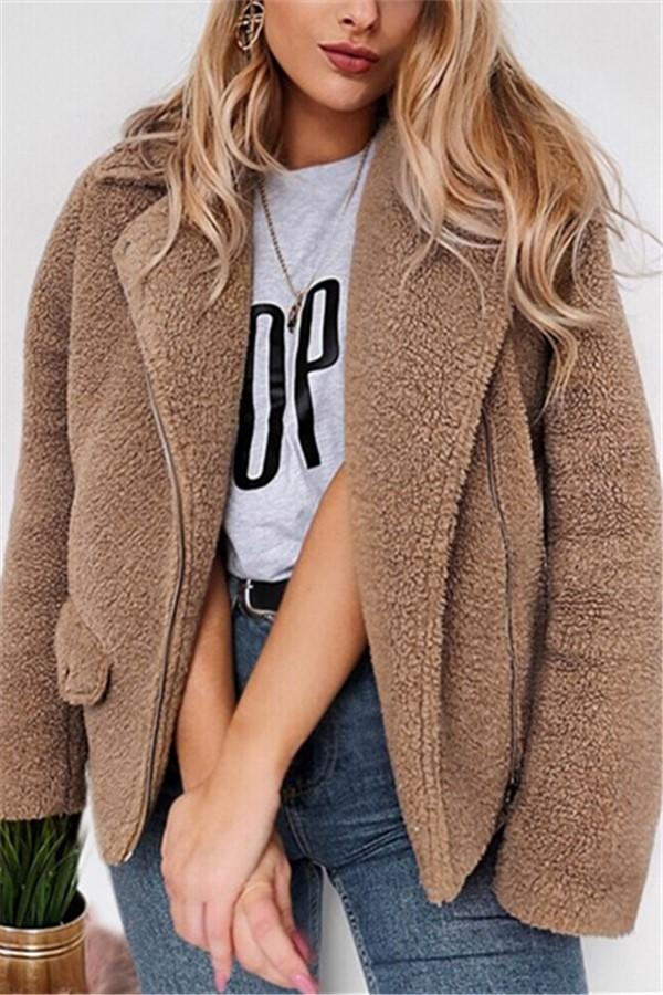 Autumn And Winter   Casual Plush Warm Coats Camel s