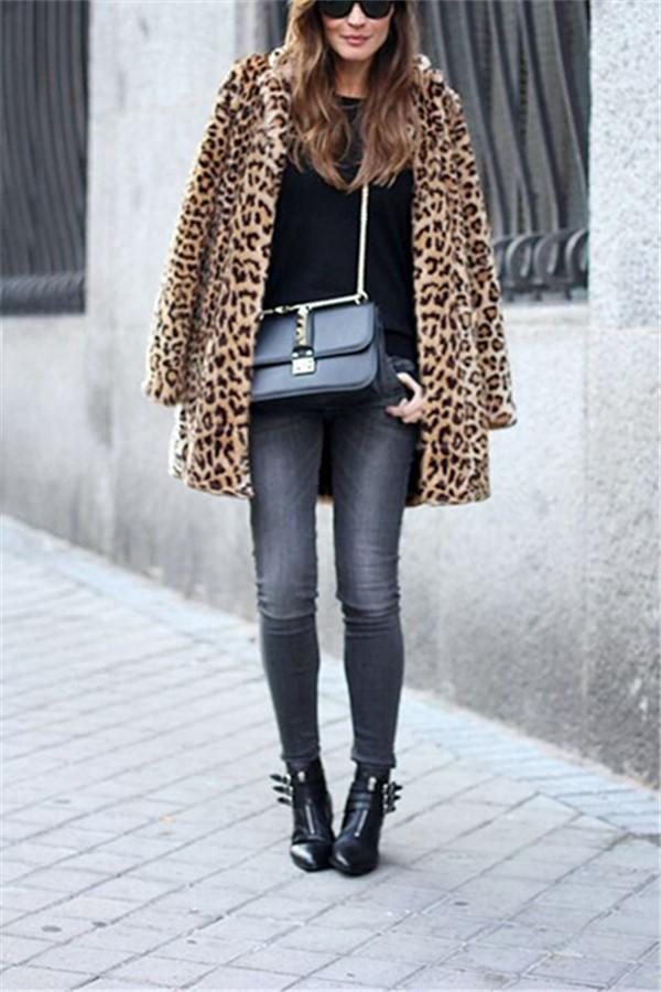Fashion Warm Faux Fur   Leopard Print Overcoat Leopard Print s