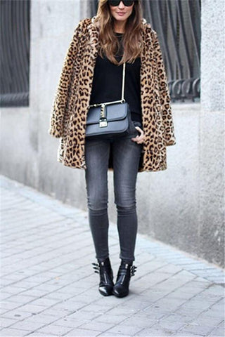 Image of Fashion Warm Faux Fur   Leopard Print Overcoat Leopard Print s
