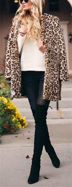 Fashion Warm Faux Fur   Leopard Print Overcoat Leopard Print l