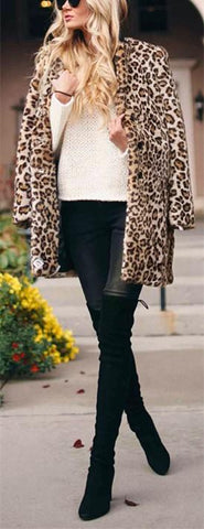 Image of Fashion Warm Faux Fur   Leopard Print Overcoat Leopard Print l