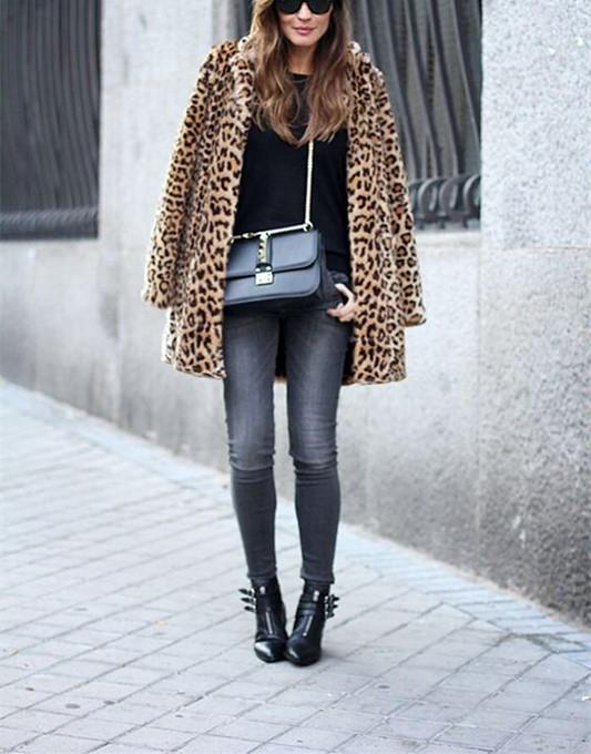 Fashion Warm Faux Fur   Leopard Print Overcoat Leopard Print m