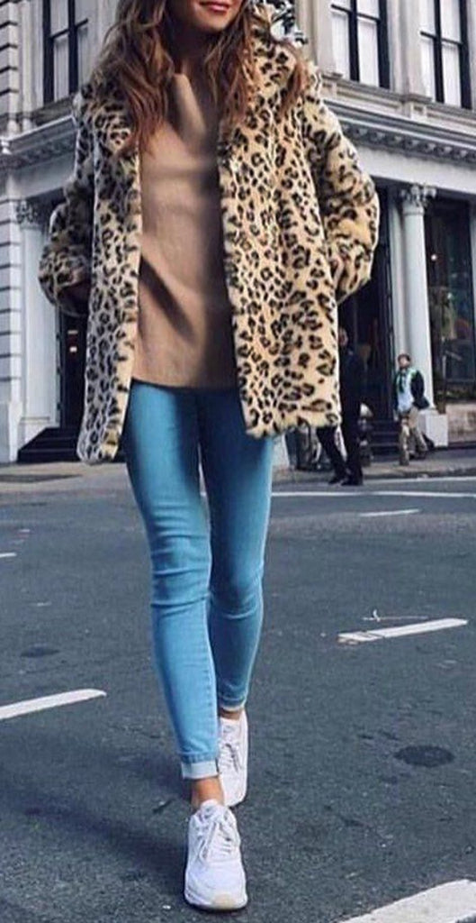 Fashion Warm Faux Fur   Leopard Print Overcoat Leopard Print 3xl