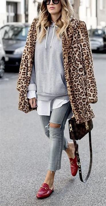 Fashion Warm Faux Fur   Leopard Print Overcoat Leopard Print xl