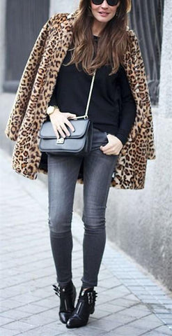 Image of Fashion Warm Faux Fur   Leopard Print Overcoat Leopard Print 2xl