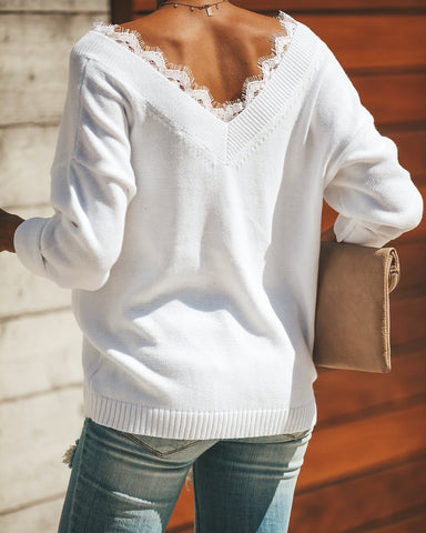 Image of Fashion Lace Trim   V-Neck Easy And Simple Knit Sweater White xl