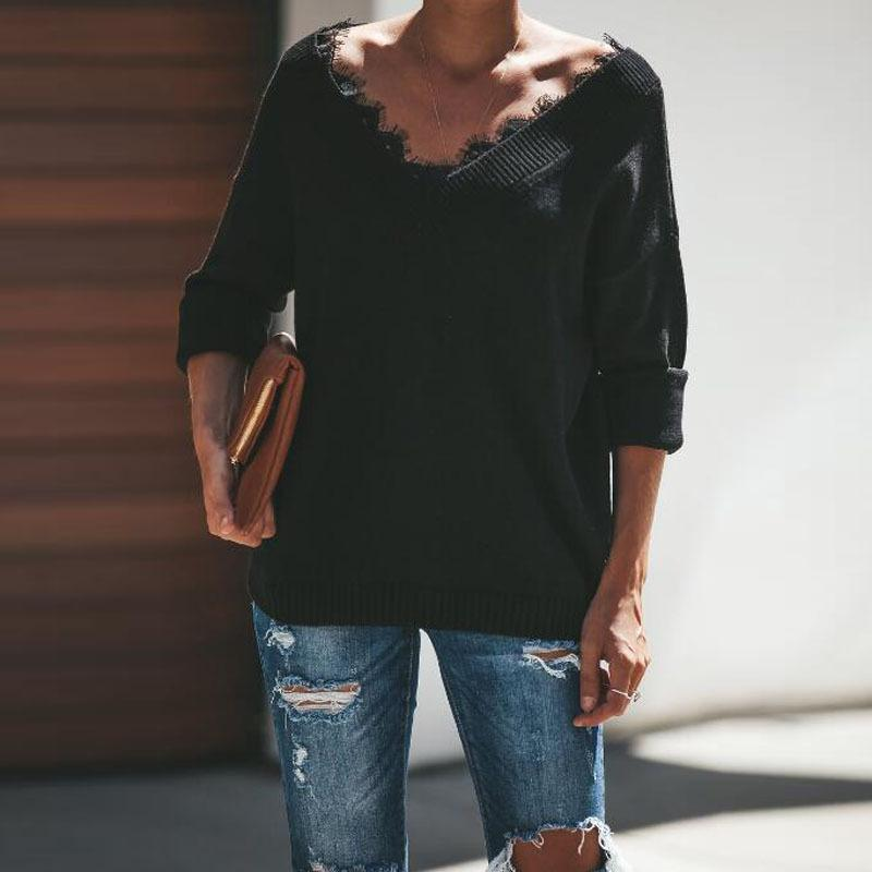 Fashion Lace Trim   V-Neck Easy And Simple Knit Sweater Black m