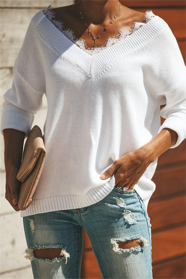 Fashion Lace Trim   V-Neck Easy And Simple Knit Sweater White s
