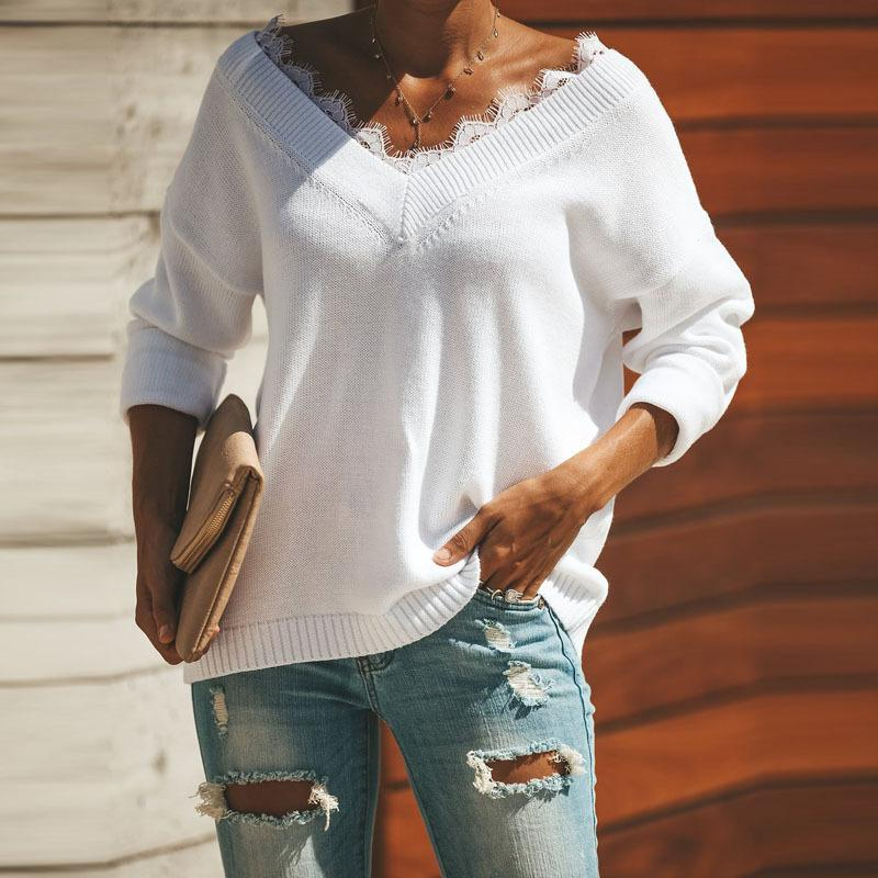 Fashion Lace Trim   V-Neck Easy And Simple Knit Sweater White m