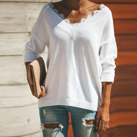 Image of Fashion Lace Trim   V-Neck Easy And Simple Knit Sweater White l