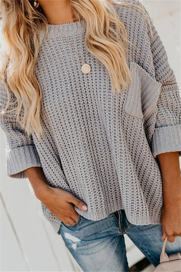 Casual Loose Long   Sleeve Knit Sweater With Shoulders Down Light Gray s