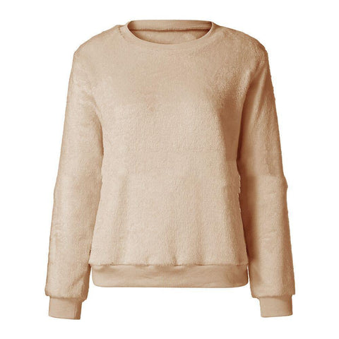 Image of Casuallong Sleeved   Round Neck Plush Sweater Fleece Pink l