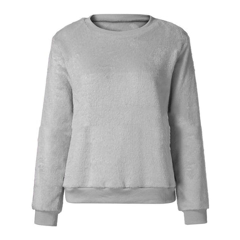 Image of Casuallong Sleeved   Round Neck Plush Sweater Fleece Gray l
