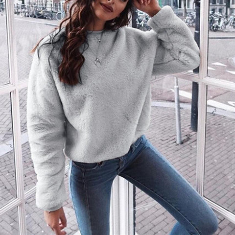 Image of Casuallong Sleeved   Round Neck Plush Sweater Fleece Gray m