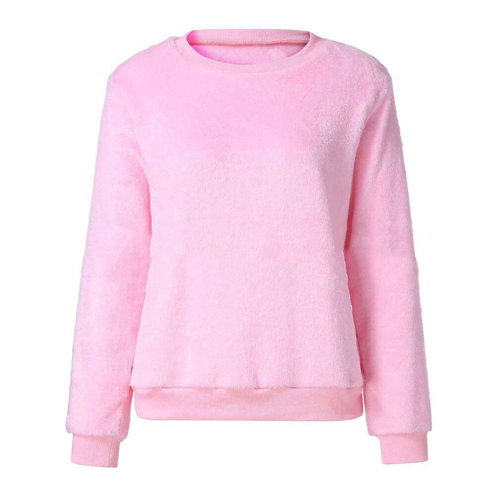 Casuallong Sleeved   Round Neck Plush Sweater Fleece Pink s