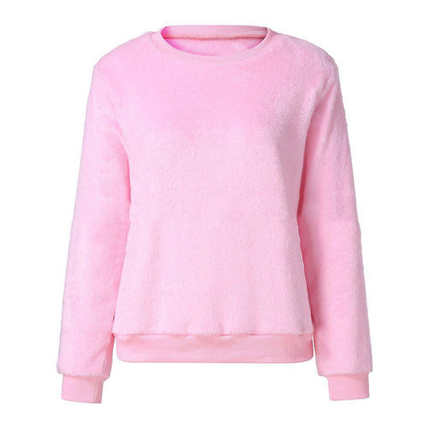 Image of Casuallong Sleeved   Round Neck Plush Sweater Fleece Pink s