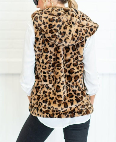 Image of Casual Leopard Print   Armless Cashmere Hooded Vest Coat Leopard Print 2xl