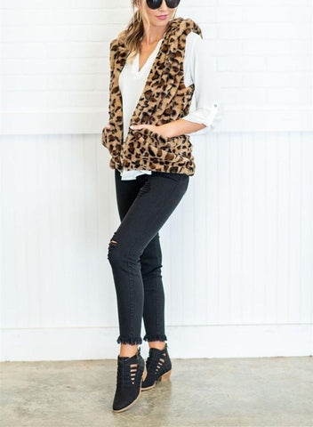 Image of Casual Leopard Print   Armless Cashmere Hooded Vest Coat Leopard Print xl