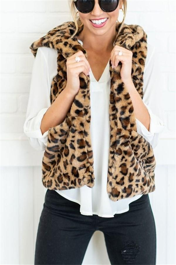 Casual Leopard Print   Armless Cashmere Hooded Vest Coat Leopard Print s