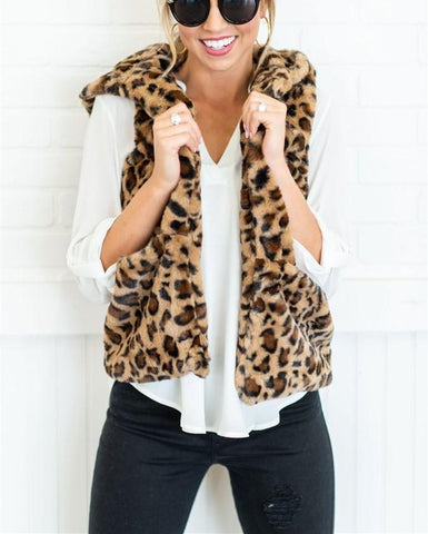 Image of Casual Leopard Print   Armless Cashmere Hooded Vest Coat