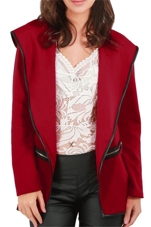 Casual Pure Color Long   Sleeve Hooded Cardigan Woollen Coat Red s