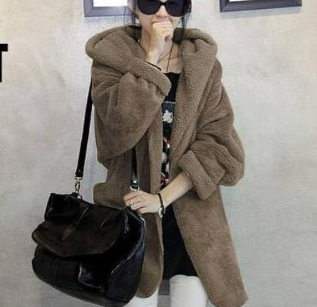 Image of Casual Pure Color   Large Lamb Hooded Coat Gray one size