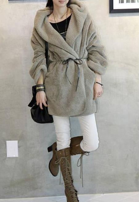 Casual Pure Color   Large Lamb Hooded Coat