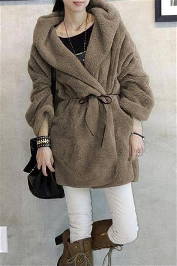 Casual Pure Color   Large Lamb Hooded Coat Khaki one size