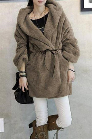 Image of Casual Pure Color   Large Lamb Hooded Coat Khaki one size
