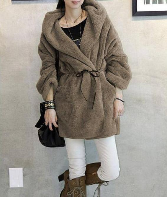 Casual Pure Color   Large Lamb Hooded Coat Black one size