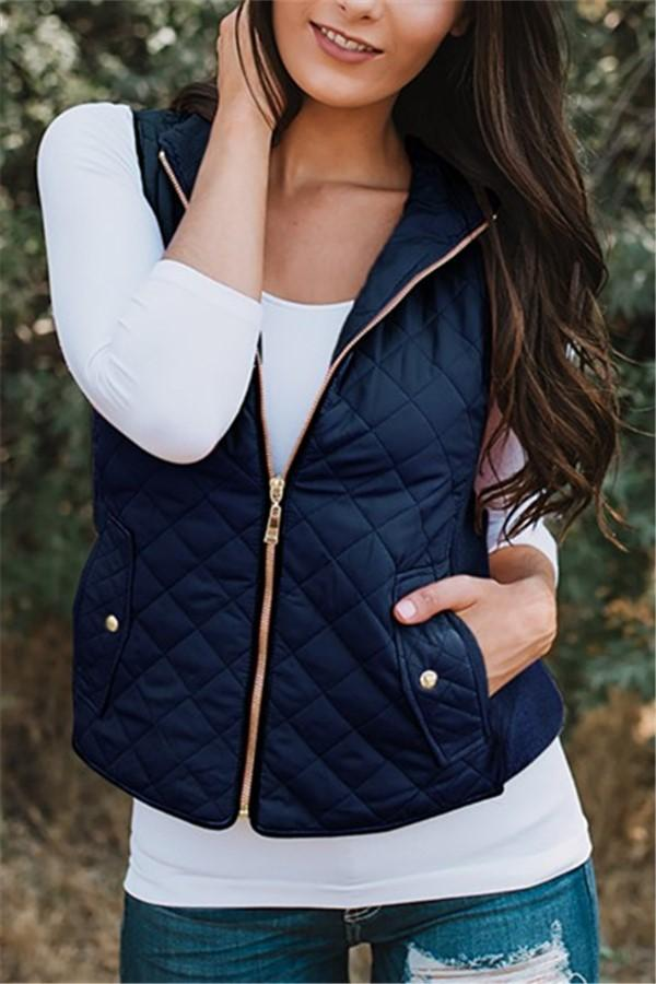 Autumn And Winter   Casual Sleeveless Cotton Vest Dark Blue s