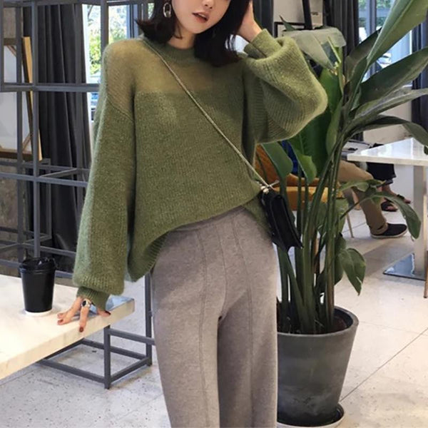 Casual Bishop Sleeve Round Neck Mohair Loose Sweater Green one size