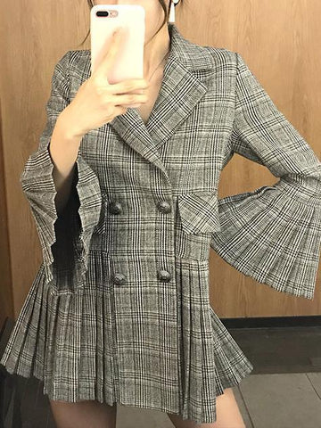 Image of Fashion Elegant Bell Sleeve Check Pleated Suit Jacket Same As Photo xl