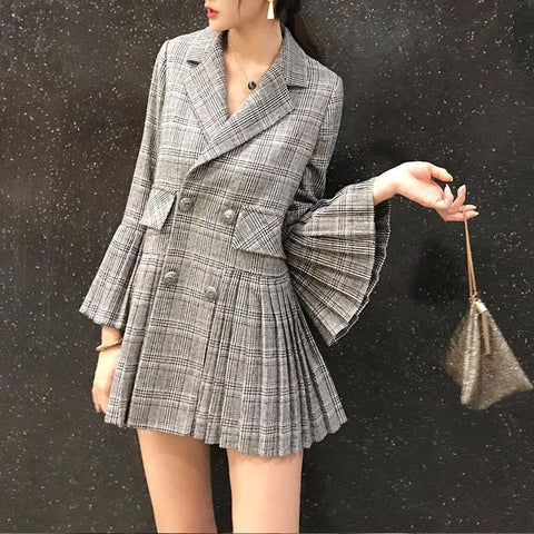 Image of Fashion Elegant Bell Sleeve Check Pleated Suit Jacket Same As Photo l