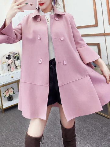 Image of Fashion Pure Colour Bell Sleeve Slim With Woollen Coat Pink l