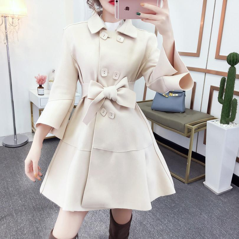 Fashion Pure Colour Bell Sleeve Slim With Woollen Coat Apricot l