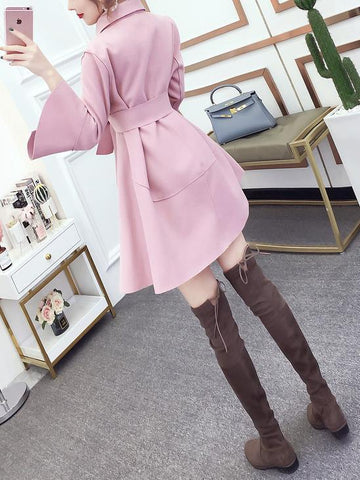 Image of Fashion Pure Colour Bell Sleeve Slim With Woollen Coat Apricot s